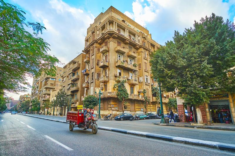 Straße Qasr Al Nil in Kairo, Ägypten stockbild
