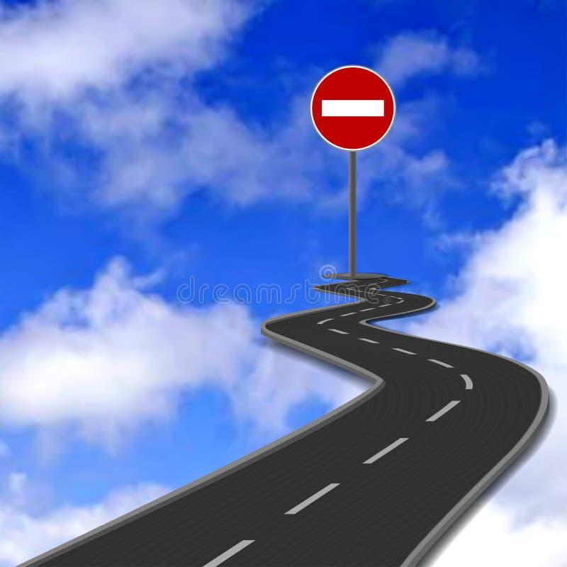 Straße, rotes Endverkehrsschild und blauer Himmel. Vektor vektor abbildung