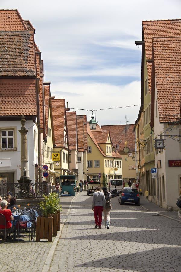 Straße in Rothenburg-ob der Tauber, Deutschland stockfoto