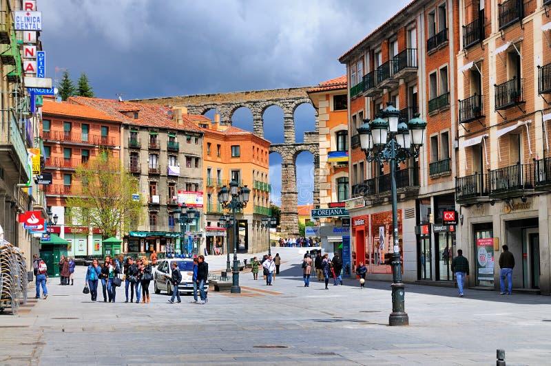 Straße in Segovia, Spanien lizenzfreies stockbild