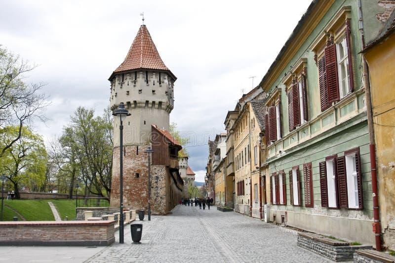 Straße in Sibiu, Rumänien lizenzfreie stockfotografie