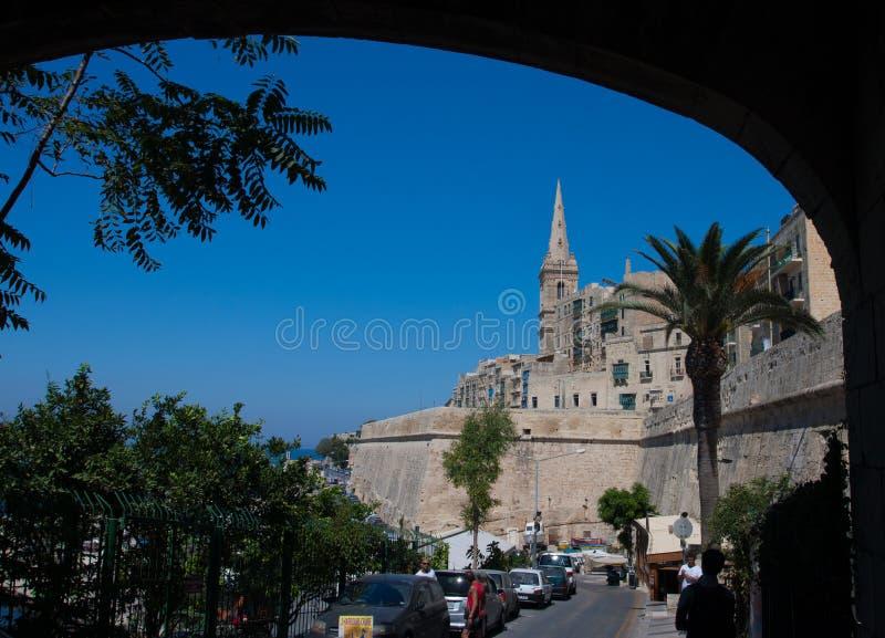 Straße in Valletta, Malta stockbilder