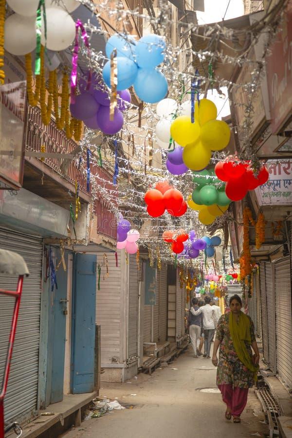 Straße von Delhi Indien während Diwali stockbild