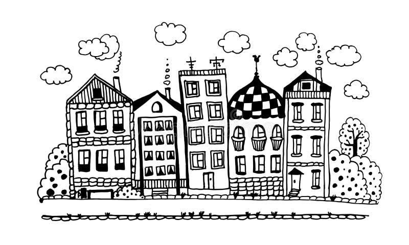 Straße von lustigen reizenden Häuschen mit Gärten und grafischer Tintenillustration der Wolken stockfoto