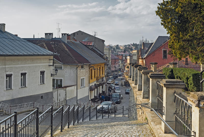 Straße von Uzhhorod, Ukraine lizenzfreies stockbild