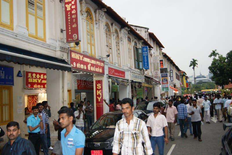 Straße in wenigem Indien in Singapur lizenzfreie stockfotografie