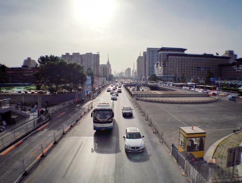 Straße Westbahnhofs Pekings stockbilder
