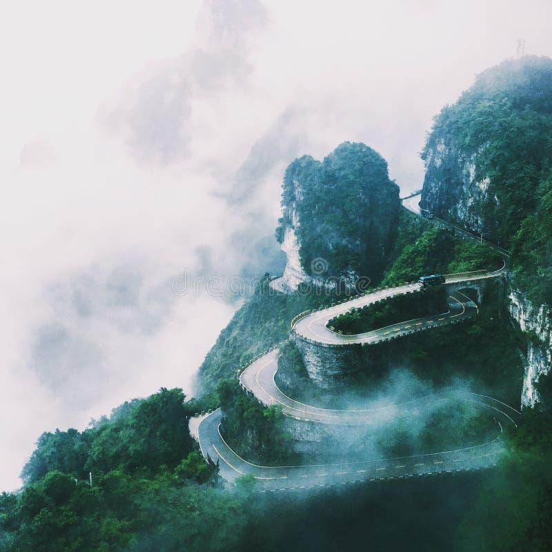 Straße Zhangjiajie Panshan stockbild