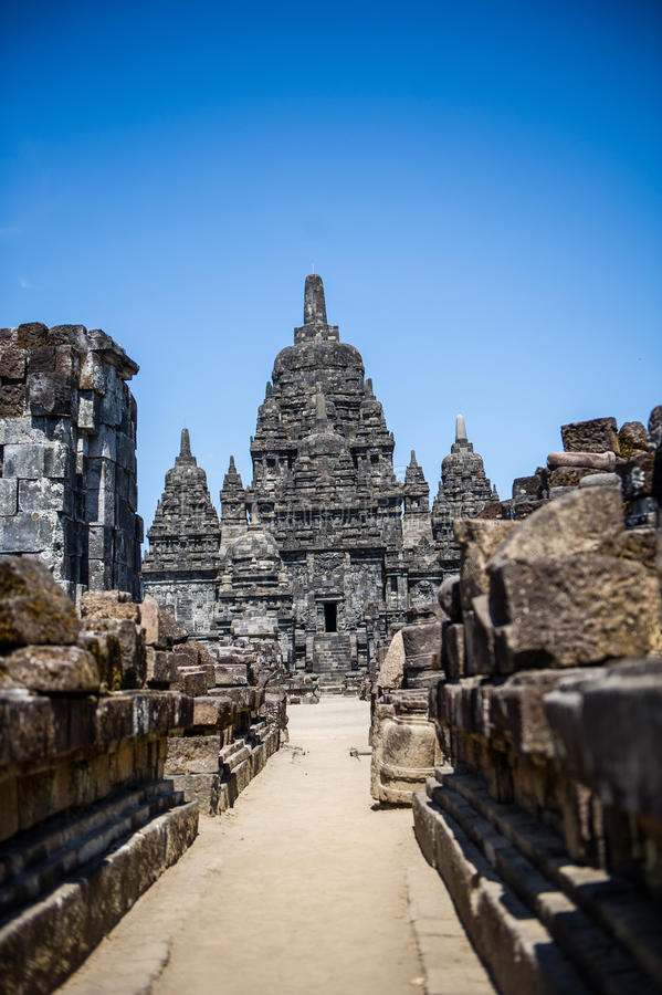 Straße zu Candi Sewu Temple, Yogyakarta, Indonesien 2 lizenzfreie stockfotos