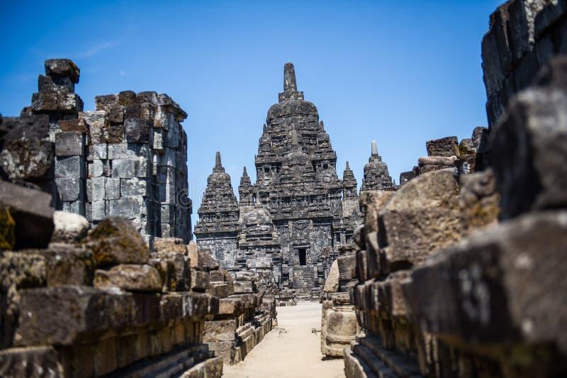 Straße zu Candi Sewu Temple, Yogyakarta, Indonesien 1 lizenzfreies stockbild