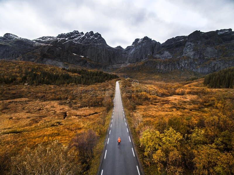 Straße zu den norwegischen Bergen im Herbst lizenzfreies stockfoto