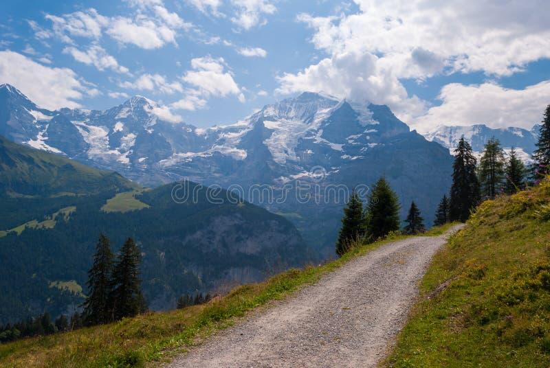 Straße zu den Sommerbergen schöne Ansichten der Schweizer Alpen stockfotografie