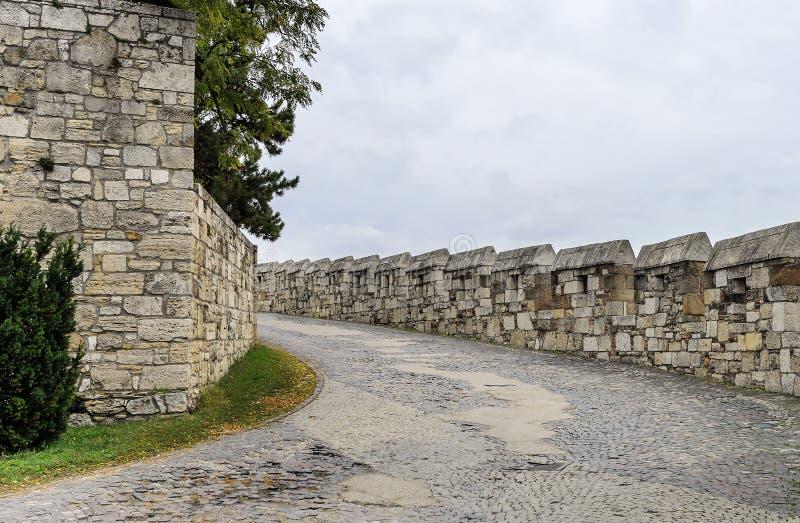 Straße zum alten Schloss lizenzfreies stockbild