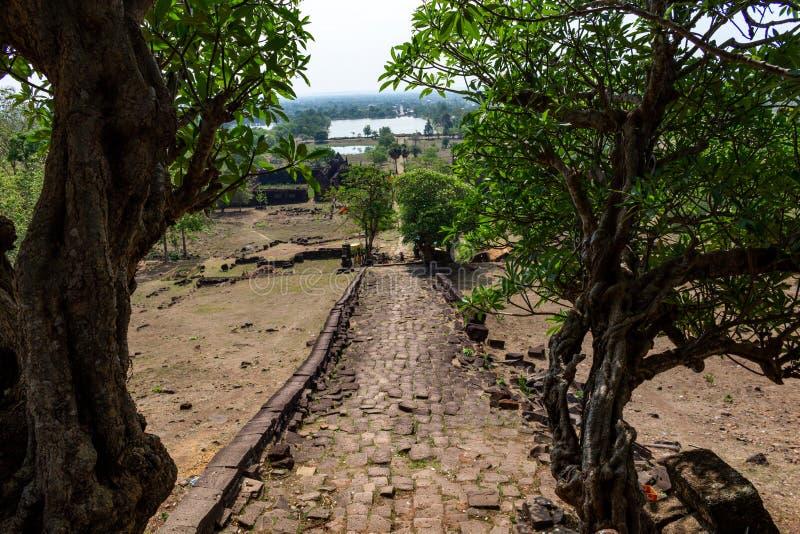 Straße zum Bottich Phou Laos stockfotografie