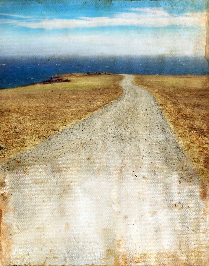 Straße zum Meer auf Grunge Hintergrund stockfotografie