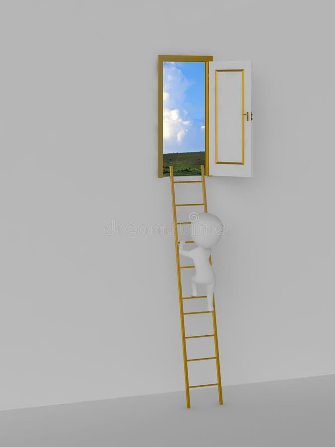 Straße zur Lösung. Tür zum Himmel. lizenzfreie abbildung