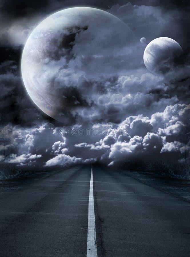 Straße zur surrealen Galaxie lizenzfreie abbildung