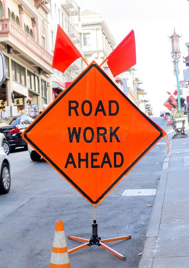 Straßen-Arbeit voran stockbild