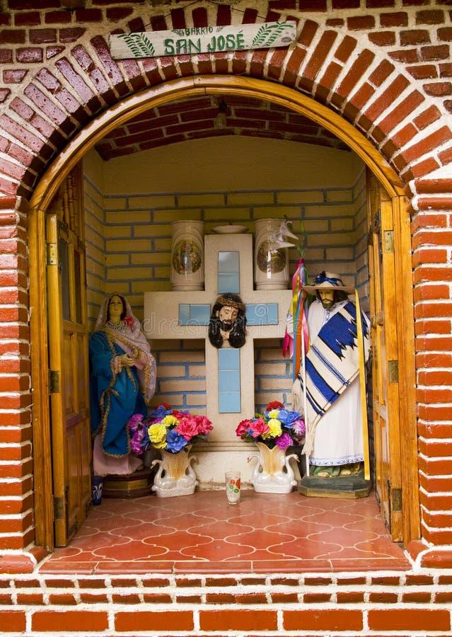 Straßen-christliche Schrein Janitzio Insel Mexiko lizenzfreie stockfotografie