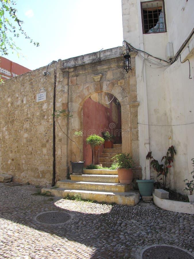 Straßen in der alten Stadt von Rhodos stockfoto