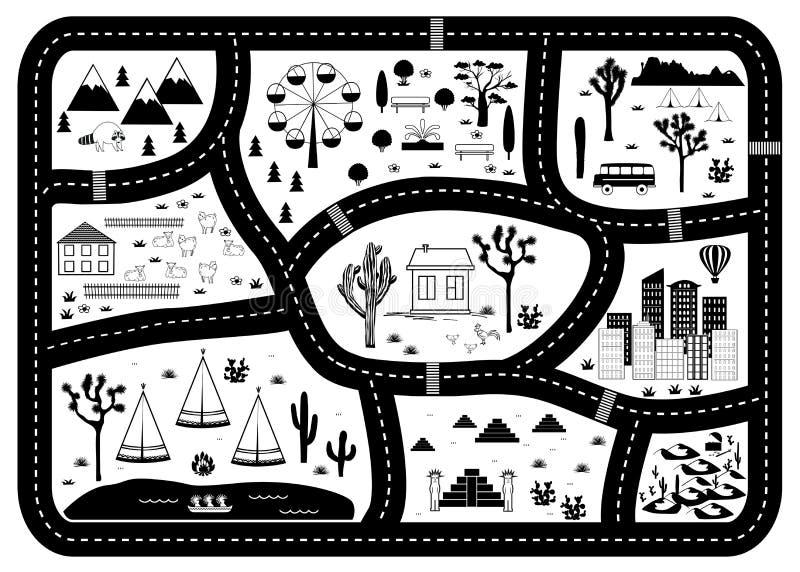 Straßen-, Gebirgs-und Holz-Abenteuer-Karte Kinderspielteppich lizenzfreie abbildung