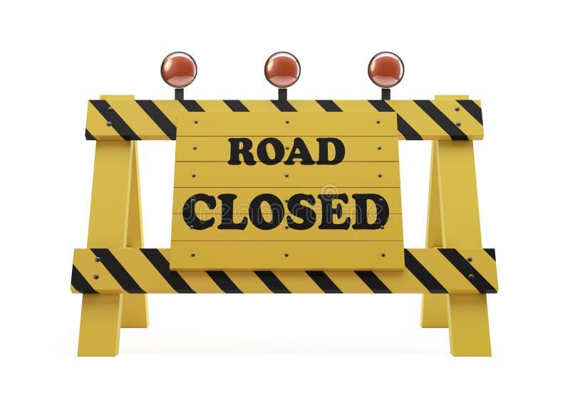 Straßen-geschlossenes Zeichen auf Weiß lizenzfreie abbildung