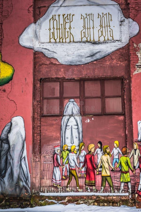 Straßen-Graffiti in Minsk, Weißrussland stockfoto