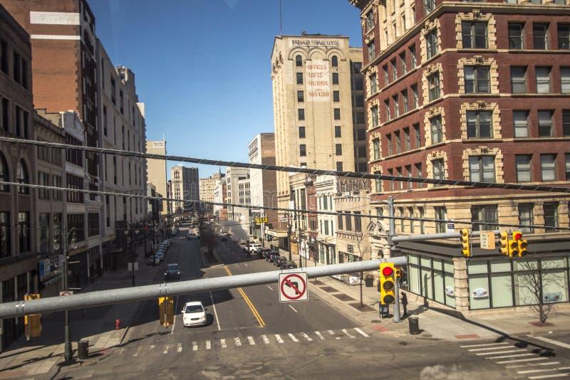 Straßen im Stadtzentrum von Detroit Michigan stockfotografie