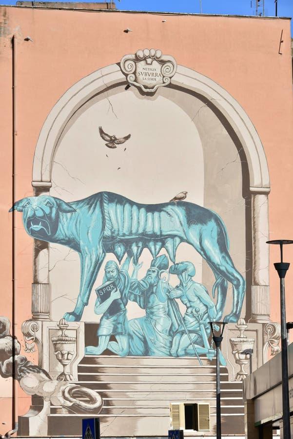 Straßen-Kunst und Graffiti in Bezirk Roms Pigneto lizenzfreies stockbild