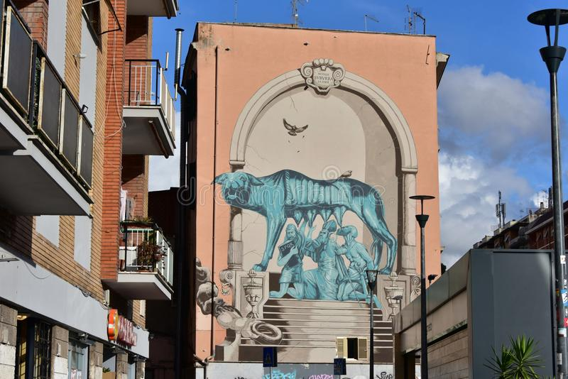 Straßen-Kunst und Graffiti in Bezirk Roms Pigneto lizenzfreie stockbilder