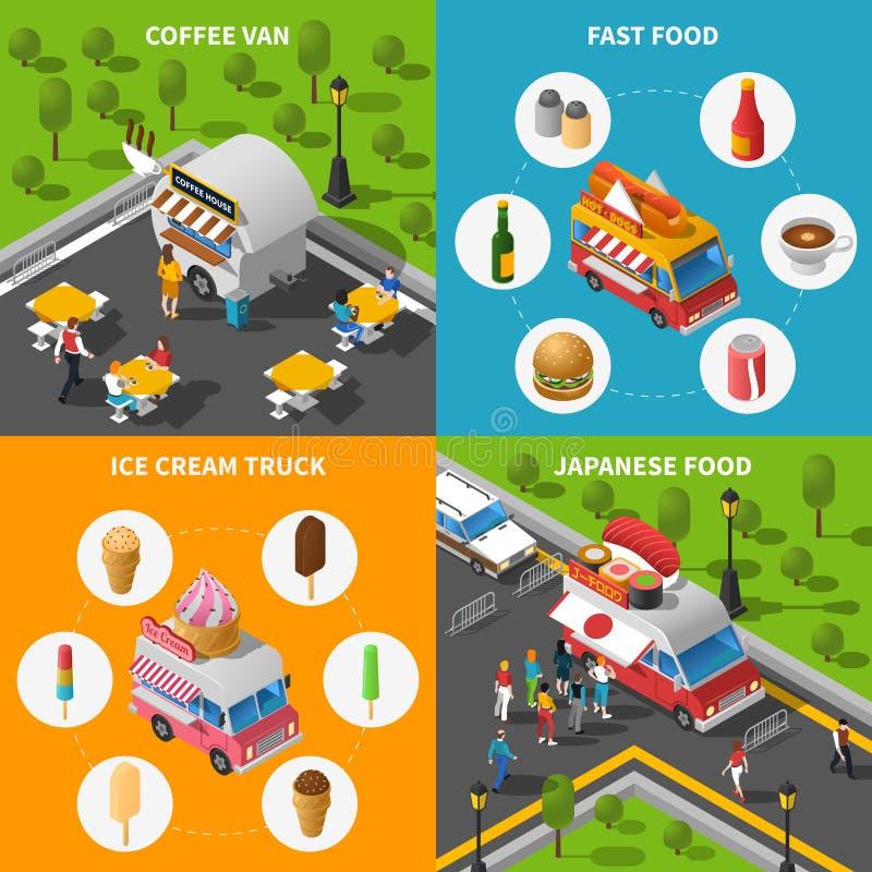 Straßen-Lebensmittel-Konzept-Ikonen eingestellt vektor abbildung