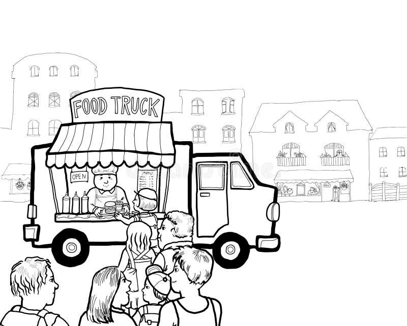 Straßen-Lebensmittel-LKW lizenzfreie abbildung