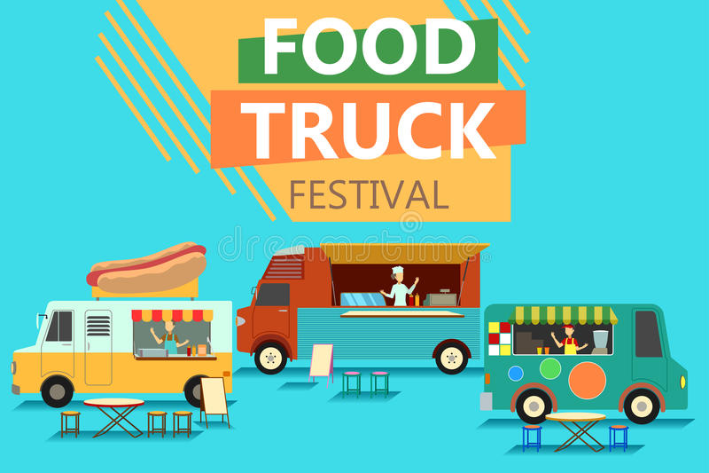 Straßen-Lebensmittel-LKW-Festival-Plakat vektor abbildung
