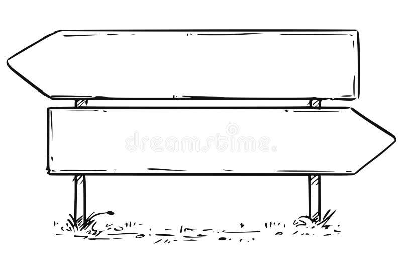 Straßen-leere leere Entscheidungs-Pfeil-Zeichen-Zeichnung stock abbildung