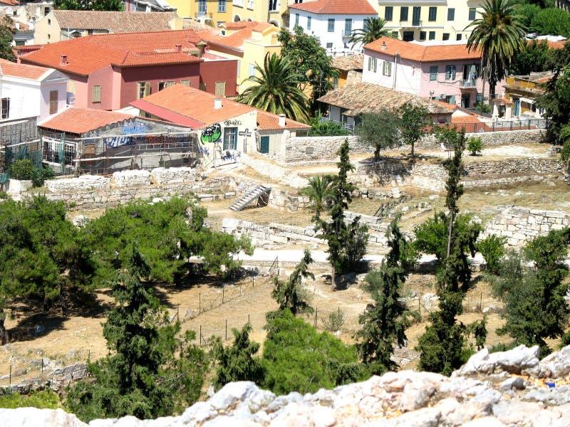 Straßen nähern sich Akropolise von Athen, Griechenland stockbilder