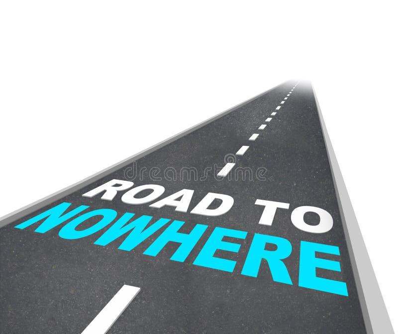 Straßen-nirgendwo - Wörter auf Autobahn lizenzfreie abbildung