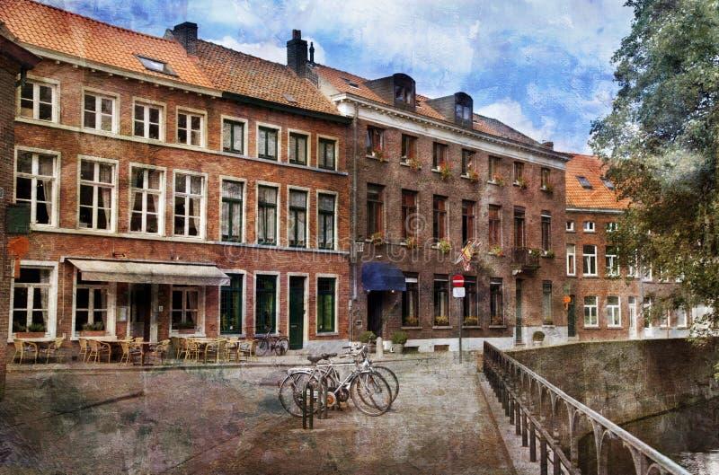 Straßen von Brügge, Belgien lizenzfreie stockfotografie