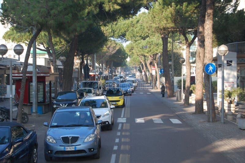 Straßen von Rimini, Weihnachten in Italien lizenzfreie stockfotografie