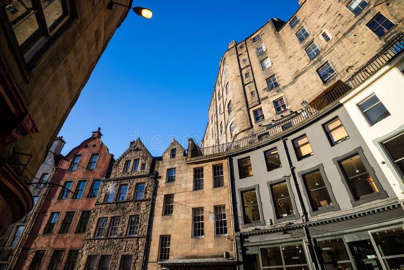 Straßenansicht der historischen alten Stadt, Edinburgh lizenzfreies stockbild