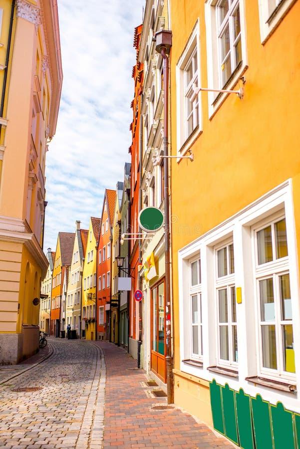 Straßenansicht in Landshut-Stadt lizenzfreie stockfotos