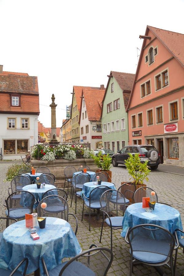 Straßenansicht in Rothenburg-ob der Tauber, Deutschland lizenzfreies stockbild