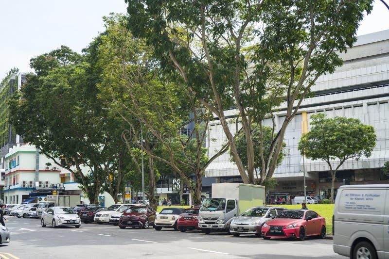Straßenansicht von Singapur, offiziell die Republik Singapur lizenzfreies stockbild