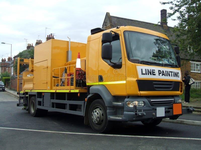 Straßenarbeiten-LKW Lin Painting Truck Straßenunterhaltung lizenzfreies stockfoto