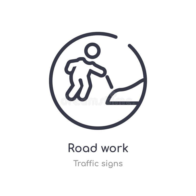 Straßenarbeitenentwurfsikone lokalisierte Linie Vektorillustration von der Verkehrsschildersammlung editable Haarstrichstraßenarb vektor abbildung