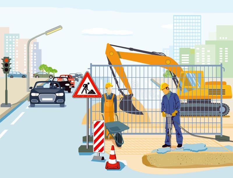 Straßenarbeitenillustration stock abbildung