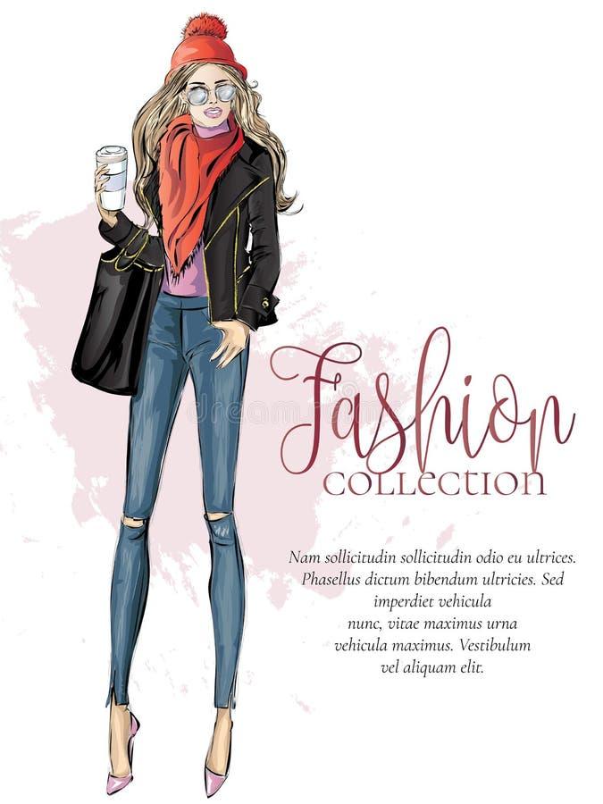 Straßenart-Modefrau mit Morgentasse kaffee, Modekollektionsanzeige, Verkaufseinkaufsfahne, vorbildliche Skizze, Hand lizenzfreie abbildung