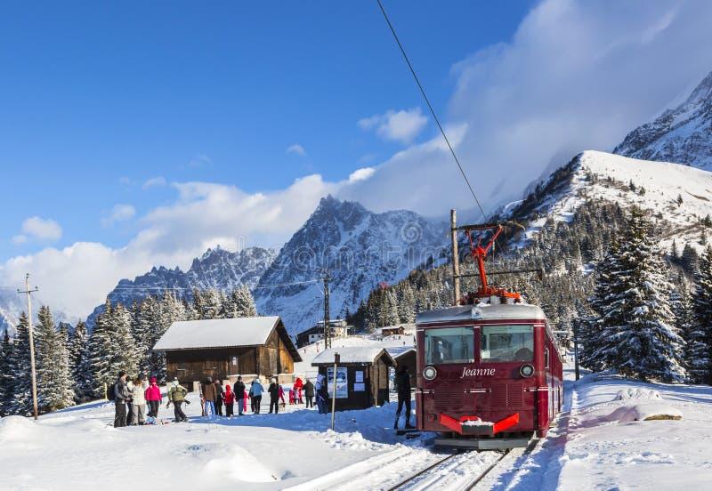 Straßenbahn DU Mont Blanc stockbild