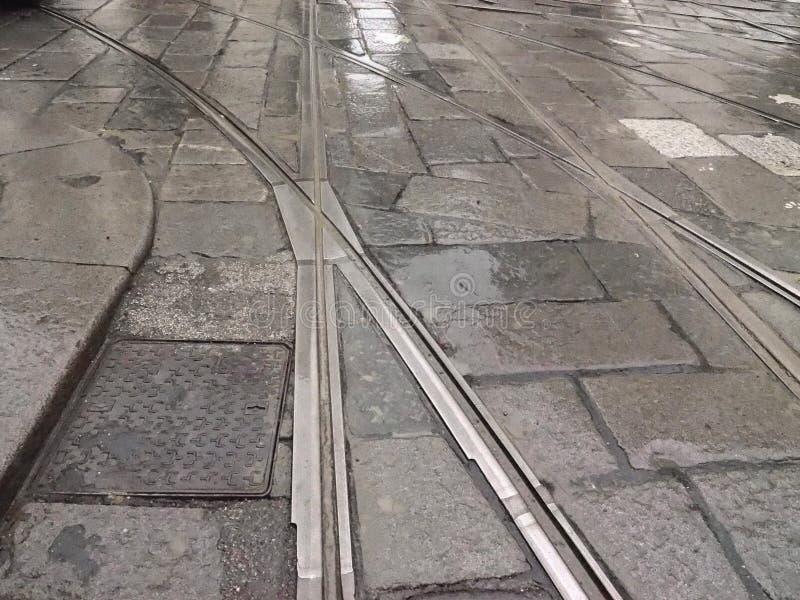 Straßenbahnbahndetail stockbilder