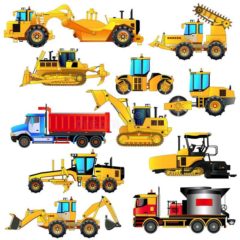 Straßenbau-Ausrüstungssatz Vektorikonen, lokalisiert stock abbildung