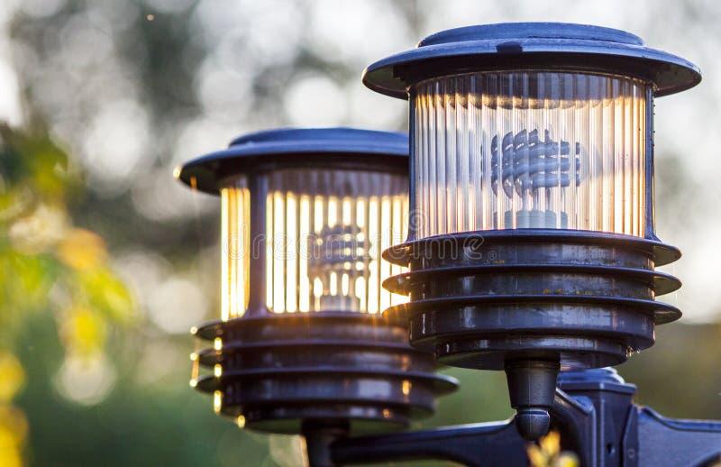Straßenbeleuchtung Im Garten Stockfoto Bild Von Leuchte